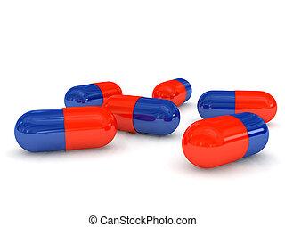 píldoras, encima, fondo blanco