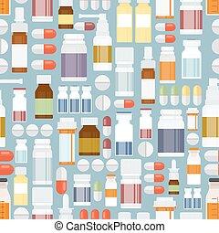 píldoras, y, drogas, en, seamless, patrón