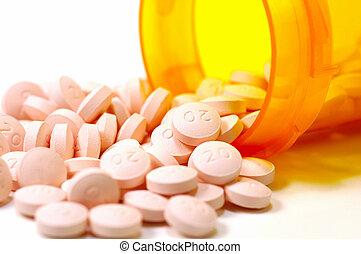 píldoras, y, un, botella, 4