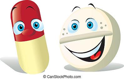 pílula branca, fundo, isolado