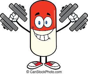 pílula, cápsula, com, dumbbells