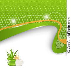 pílula, flor, médico, -, ilustração, folhas, tema, vetorial, experiência verde, capim
