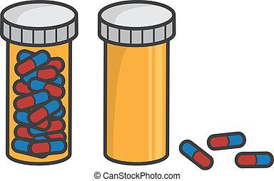 pílula, vazio, cheio, garrafa