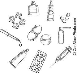 pílulas, drogas, e, ícones médicos, esboços