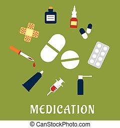 pílulas, drogas, e, ícones médicos