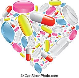 pílulas, e, cápsula, em, coração