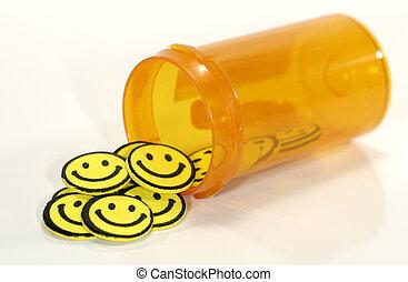 pílulas, feliz