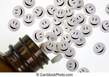 pílulas felizes, -, drogas, -, garrafa medicina