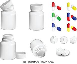 pílulas, garrafa