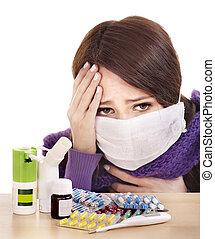 pílulas, levando, gripe, menina, tendo