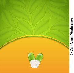 pílulas, medicação, natural, médico, -, ilustração, tema, vetorial, verde, voador, alternativa