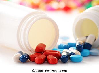 pílulas, recipiente, composição, droga, variedade