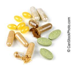pílulas, suplemento, herbário