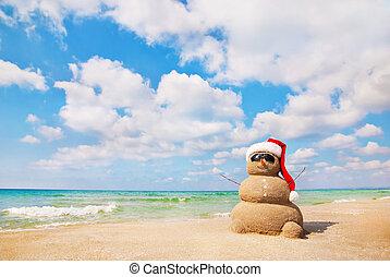 písečný, snowman., dovolená, pojem, konzerva, být, použitý,...