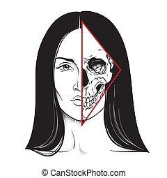 pół, brunetka, czaszka, twarz