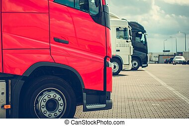 pół, ciężarówki, parking