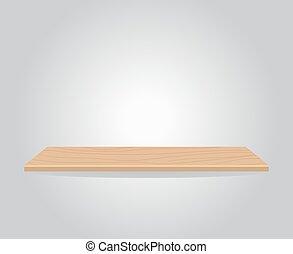półka, drewno, empy