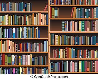 półka na książki, drewniany, wektor