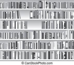 półka na książki, ilustracja, nowoczesny, wektor