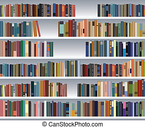półka na książki, wektor, nowoczesny