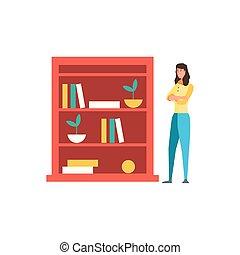 półka, projektować, kobieta, książki, avatar