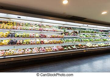 półka, supermarket, owoce