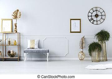 półka, taboret, i, rośliny, w, hala