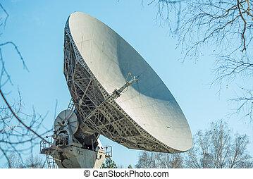 półmisek, tło, satelita, transmisja danych, błękitny