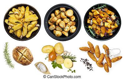 półmiski, kartofel, górny, odizolowany, zbiór, prospekt