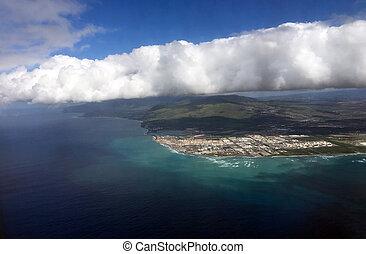 Północ, kropka, wyspa, kaena, Hawaje, Pacyfik, Ocean, brzeg,...