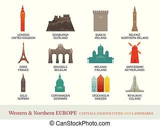 północny, miasta, western, punkty orientacyjny, europa