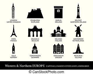 północny, sylwetka, miasta, western, punkty orientacyjny, europa