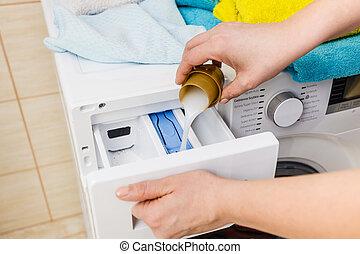 pó, detergente, lavanderia, lavando