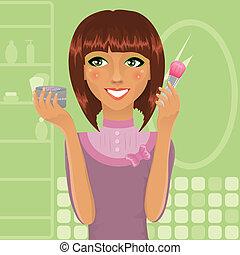 pó, menina, aplicando, escova, maquiagem