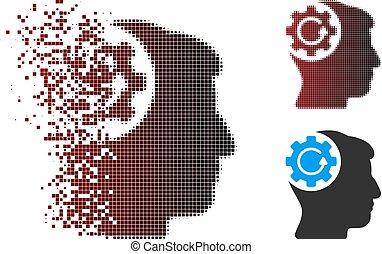 pó, pixel, halftone, intelecto, engrenagem, rotação, ícone