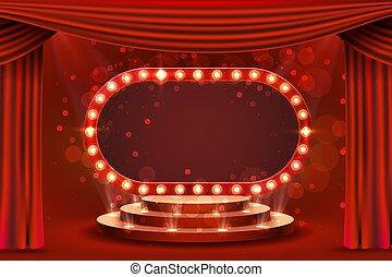 pódio, cena, showtime., em branco, quadro, retro, vermelho