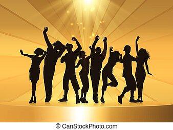 pódio, dourado, pessoas, dançar, fundo, partido