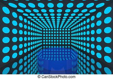 pódio, em, quarto vazio, azul