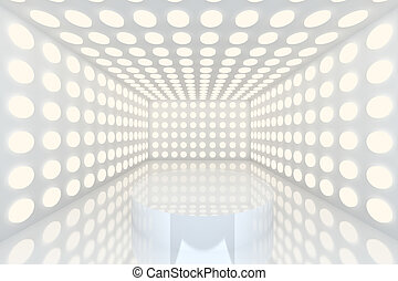 pódio, em, quarto vazio, branca