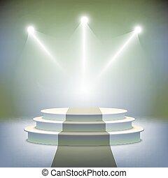 pódio, iluminado, distinção, fase