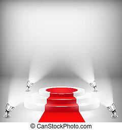 pódio, iluminado, tapete vermelho