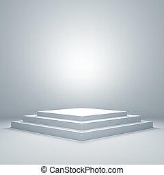 pódio, iluminado, vazio