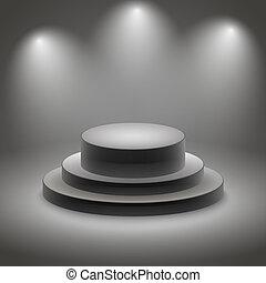 pódio, pretas, iluminado, vazio