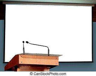 pódio, projetor, seminário, em branco