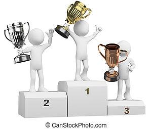 pódio, vencedores, atletas, 3d