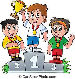 pódio, vencedores, caricatura