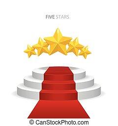 pódium, vektor, piros, csillaggal díszít, szőnyeg