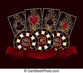 póker, bandera, casino, tarjetas