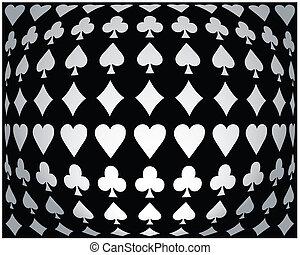 póker, black-white, seamless, plano de fondo