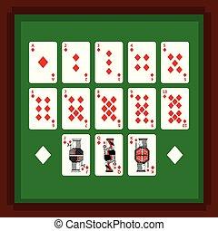 póker, conjunto, diamante, juego verde, tarjetas, tabla, juego